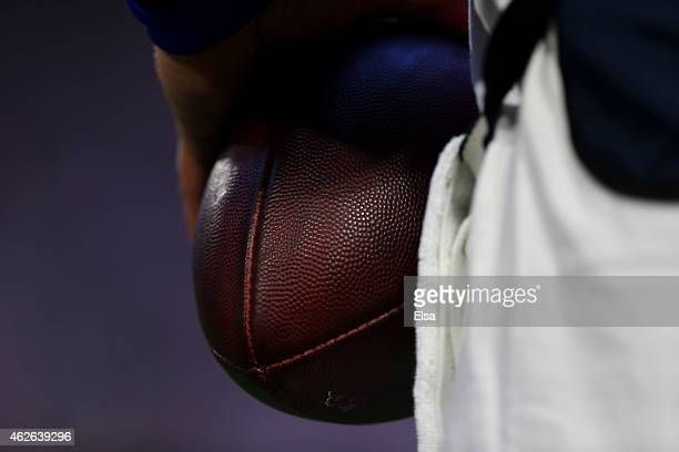Detail shot of a football used in the New England Patriots verses the Seattle Seahawks in the second quarter during Super Bowl XLIX at University of...