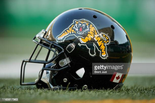 Detail shot of a Hamilton Tiger-Cats helmet before the game between the Hamiton Tiger-Cats and Saskatchewan Roughriders at Mosaic Stadium on August...