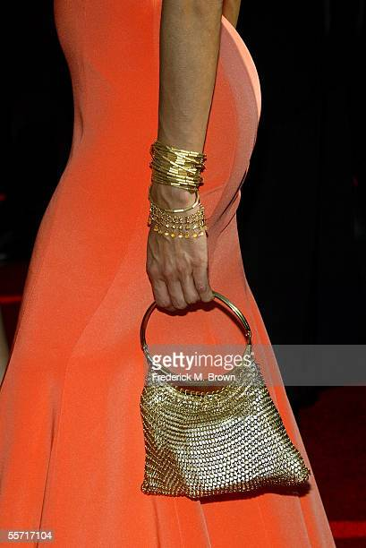 "Detail shot of a handbag and bracelets worn by actress Eva Longoria of the nominated ABC's ""Desperate Housewives"" is seen as she arrives at the 57th..."