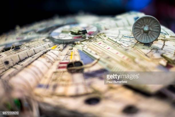 Detail shot of a miniature Millenium Falcon from the Star Wars franchise is displayed during WonderCon 2018 at Anaheim Convention Center on March 23,...