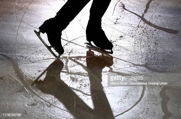 Detail shot of a skate during the ISU Junior Grand Prix of Figure Skating Egna-Neumarkt at Wuerth Arena on October 03, 2019 in Egna, Italy.