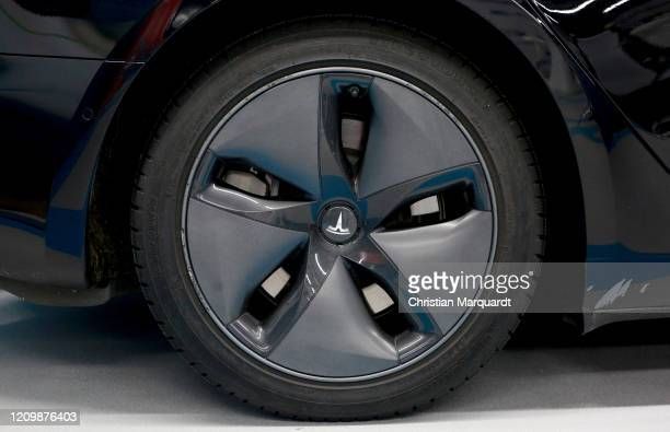 Detail shot of a Tesla car rim during the opening of the first Berlin electric caresharing station of UFODRIVE on March 02 2020 in Berlin Germany...