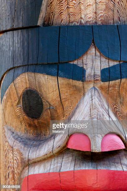 detail shot of a totem pole - ketchikan, alaska, usa - totem pole stock pictures, royalty-free photos & images