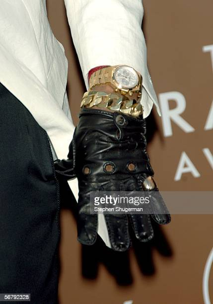A detail shot of a watch worn by rapper Kanye West as he arrives at the 48th Annual Grammy Awards at the Staples Center on February 8 2006 in Los...