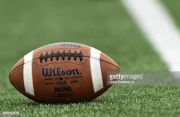 Detail shot of a Wilson football on the field prior to the game between the Southern Utah Thunderbirds and the Utah Utes at RiceEccles Stadium on...