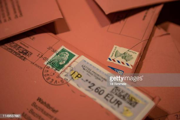Detail shot of absentee ballots sent in from France and England prior to sorting on May 16 2019 in Berlin Germany Early voting is underway ahead of...
