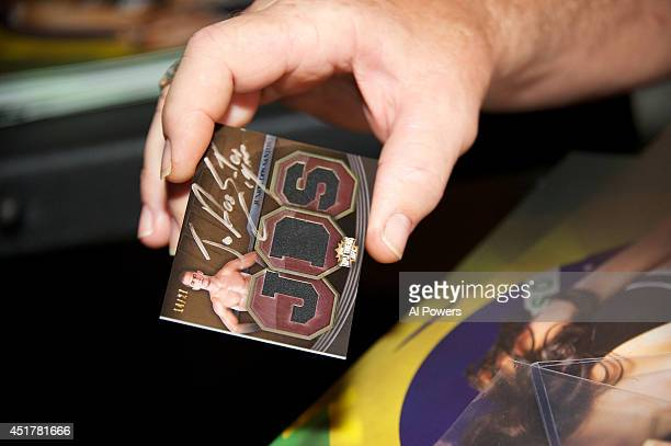 A detail shot of an autograph card for Junior Dos Santos at the UFC Brazilian party during UFC International Fight Week inside the Rockhouse at The...