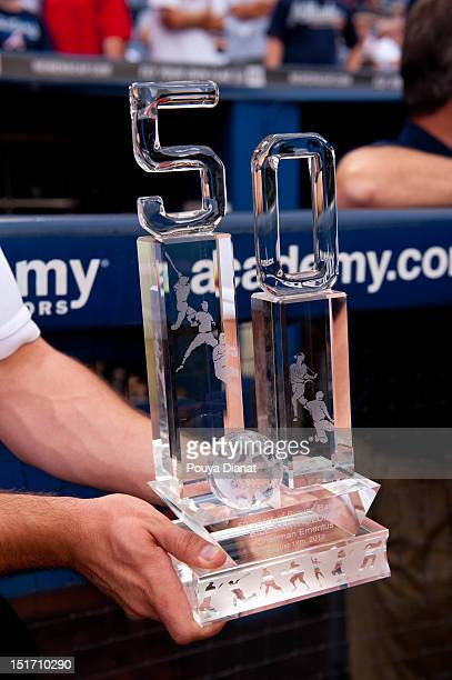A detail shot of an award of 50 years of service to Chairman Emeritus for the Atlanta Braves Bill Bartholomay before the Delta Civil Rights Game...