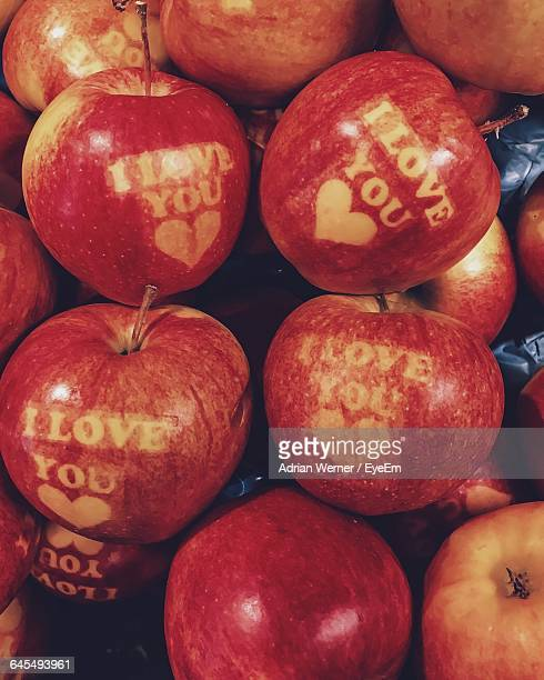detail shot of apples - i love you stock pictures, royalty-free photos & images
