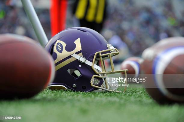 Detail shot of Atlanta Legends helmet before the game against the Birmingham Iron during the Alliance of American Football game at Legion Field on...