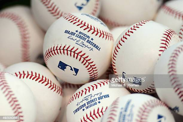 A detail shot of baseballs prior to game one of the National League Division Series between the St Louis Cardinals and the Chicago Cubs at Busch...