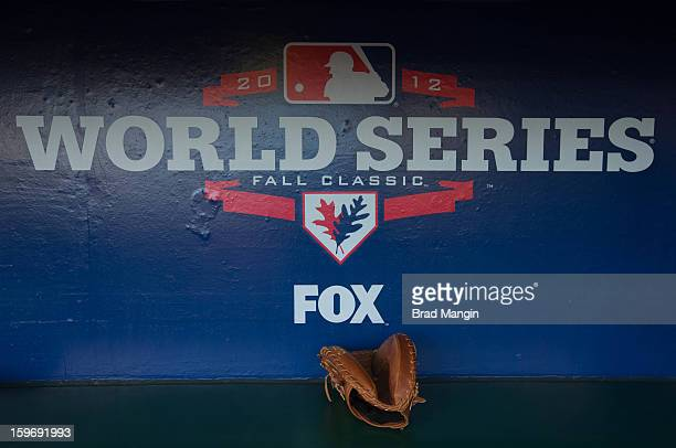 A detail shot of catchers mitt with Fox World Series logo in the background before Game 2 of the 2012 World Series between the Detroit Tigers and the...