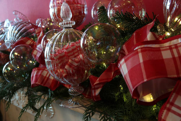 Detail shot of Christmas decorations in the State Dining Room at the White  House during a
