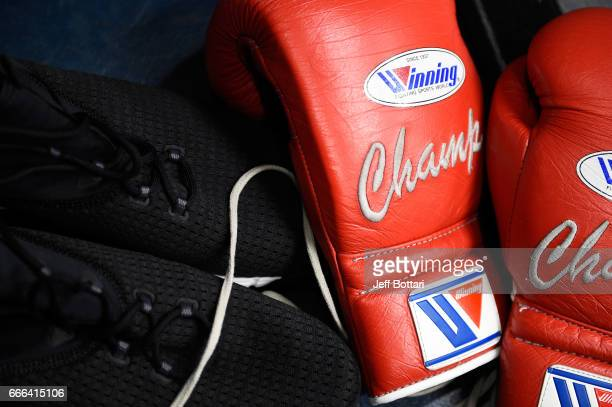 A detail shot of Daniel Cormier's training gear backstage during the UFC 210 event at the KeyBank Center on April 8 2017 in Buffalo New York