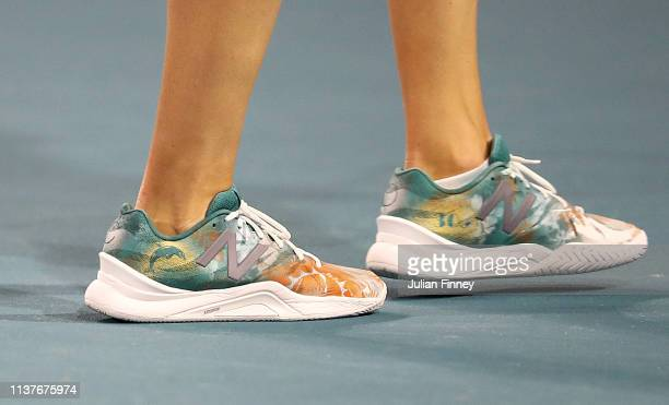 A detail shot of Danielle Collins shoes against Whitney Osuigwe of USA during day five of the Miami Open Tennis on March 22 2019 in Miami Gardens...