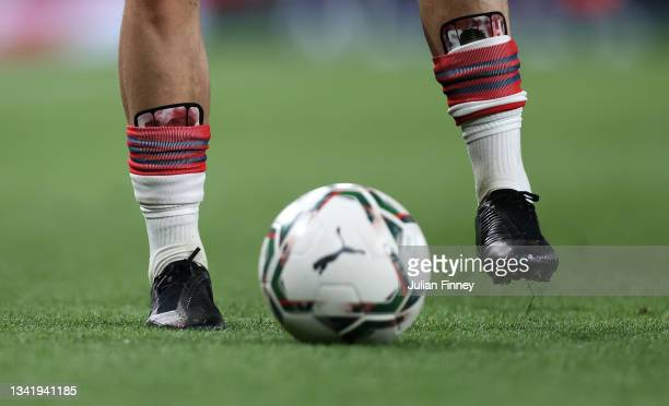 Detail shot of Emile Smith Rowe's shin pads during the Carabao Cup Third Round match between Arsenal and AFC Wimbledon at Emirates Stadium on...