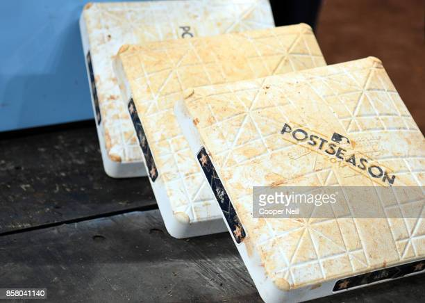 A detail shot of gameused bases seen after Game 1 of the American League Division Series between the Boston Red Sox and the Houston Astros at Minute...