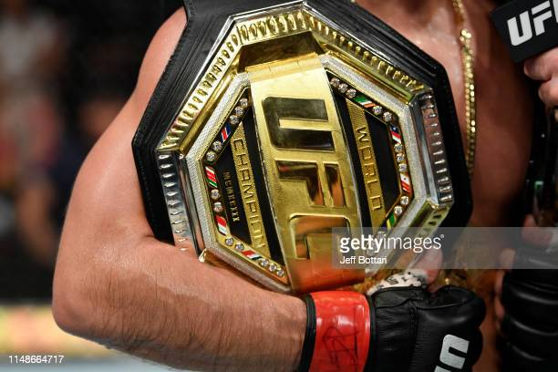 A detail shot of Henry Cejudo's Legacy Championship belt after his TKO victory over Marlon Moraes of Brazil in their bantamweight championship bout...