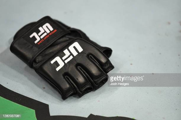 Detail shot of Khabib Nurmagomedov's gloves as he announces his retirement in the Octagon after his victory over Justin Gaethje in their lightweight...