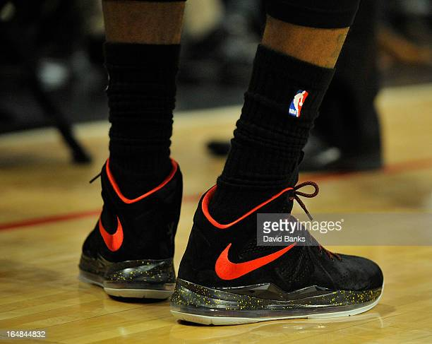 A detail shot of LeBron James of the Miami Heat shoes as he plays against the Chicago Bulls on March 27 2013 at the United Center in Chicago Illinois...