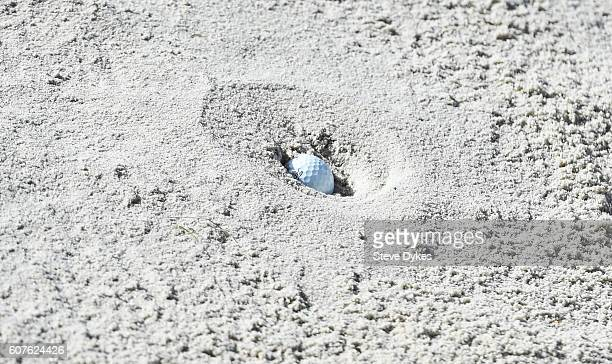 A detail shot of Mackenzie Hughes golf ball plugged in the bunker on the 15th hole during the final round of the Albertsons Boise Open at Hillcrest...