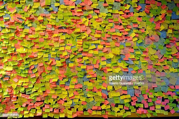 Detail Shot Of Many Sticky Notes