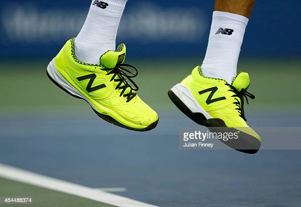 A detail shot of Milos Raonic of Canada's tennis shoes in his match against Kei Nishikori of Japan on Day Eight of the 2014 US Open at the USTA...