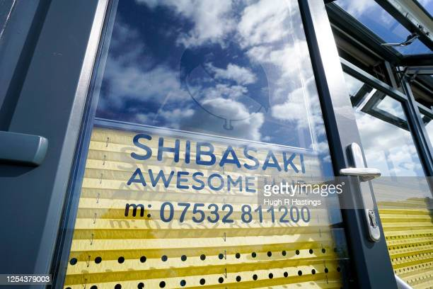 Detail shot of mobile hairdresser Masaya Shibasaki's hairdressing van as his business resumed operating on the coast road on July 5 2020 in Falmouth...