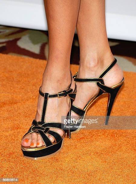 A detail shot of model Erin Naas's shoes at the 16th Annual Race to Erase MS event themed Rock To Erase MS cochaired by Nancy Davis and Tommy...