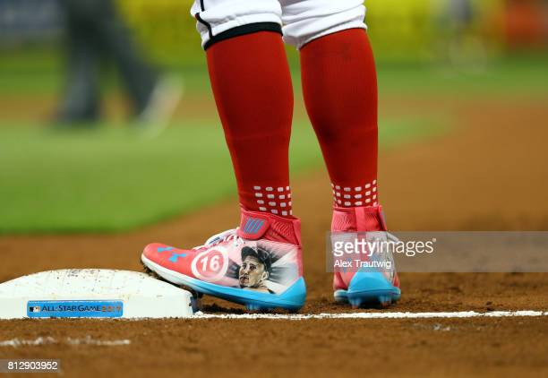 A detail shot of National League AllStar Bryce Harper of the Washington Nationals' cleats honoring late Miami Marlin Jose Fernandez during the 88th...