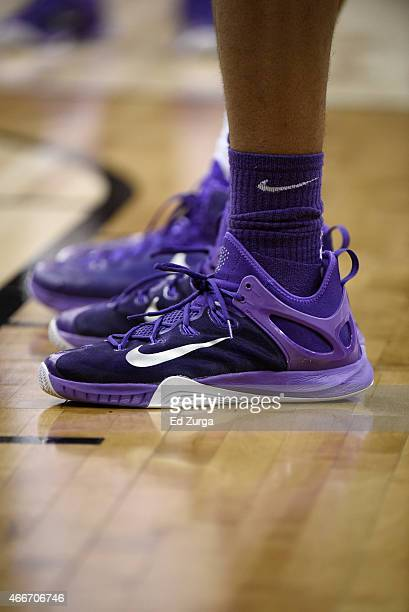 Detail shot of Nike shoes worn by a Kansas State Wildcats during the first  round of