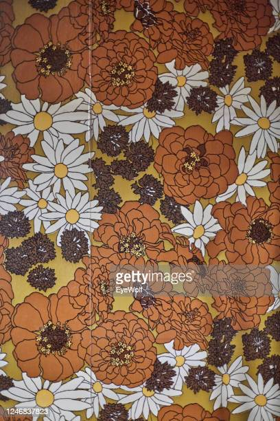 detail shot of old wallpaper in a house that was designed in the seventies. - floral pattern stock pictures, royalty-free photos & images