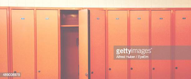Detail shot of orange lockers as background