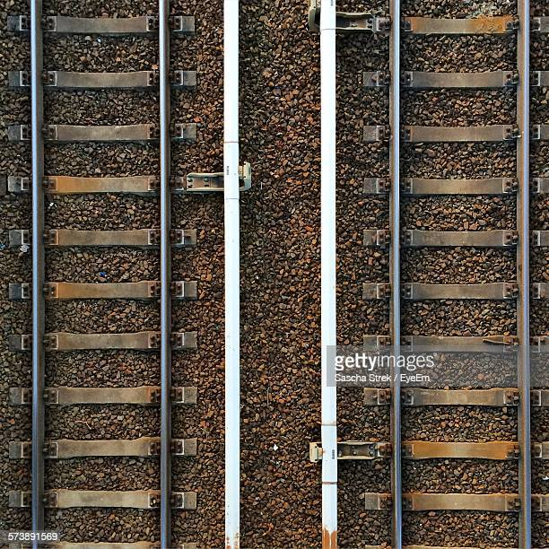 detail shot of railway tracks - railroad track stock pictures, royalty-free photos & images
