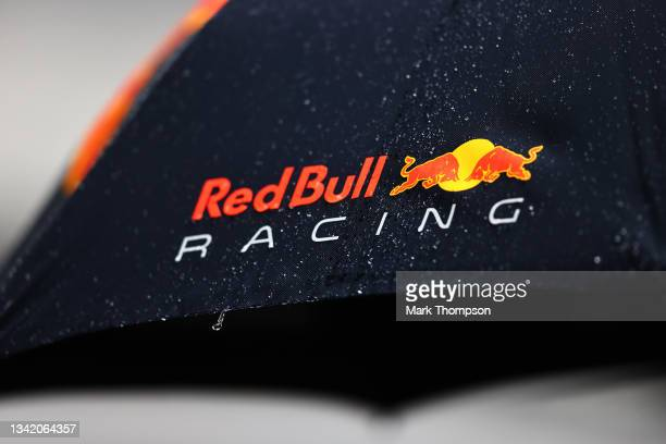 Detail shot of rain on a Red Bull Racing umbrella during previews ahead of the F1 Grand Prix of Russia at Sochi Autodrom on September 23, 2021 in...