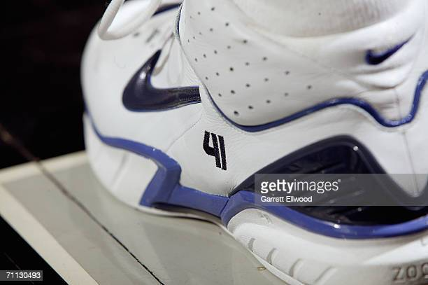 A detail shot of shoes worn by Dirk Nowitzki of the Dallas Mavericks during in game five of the Western Conference Semifinals against the San Antonio...