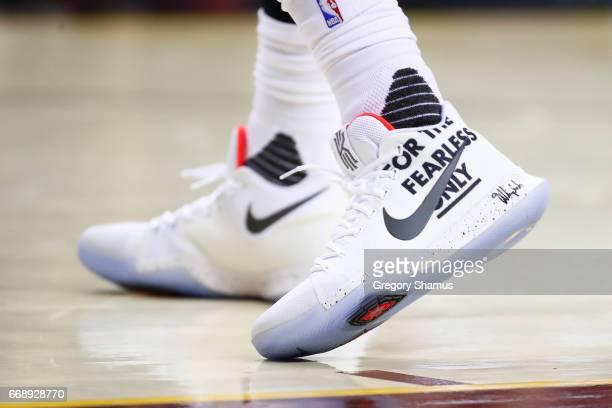 Detail shot of shoes worn by Kyrie Irving of the Cleveland Cavaliers while playing the Indiana Pacers in Game One of the Eastern Conference...