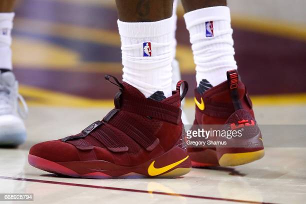 Detail shot of shoes worn by LeBron James of the Cleveland Cavaliers while playing the Indiana Pacers in Game One of the Eastern Conference...