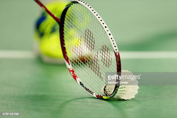 Detail shot of shuttle cock and racket during day eleven of the Baku 2015 European Games at the Baku Sports Hall on June 23 2015 in Baku Azerbaijan