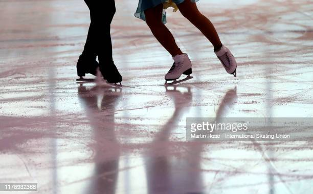 Detail shot of skates during the ISU Junior Grand Prix of Figure Skating Egna-Neumarkt at Wuerth Arena on October 03, 2019 in Egna, Italy.