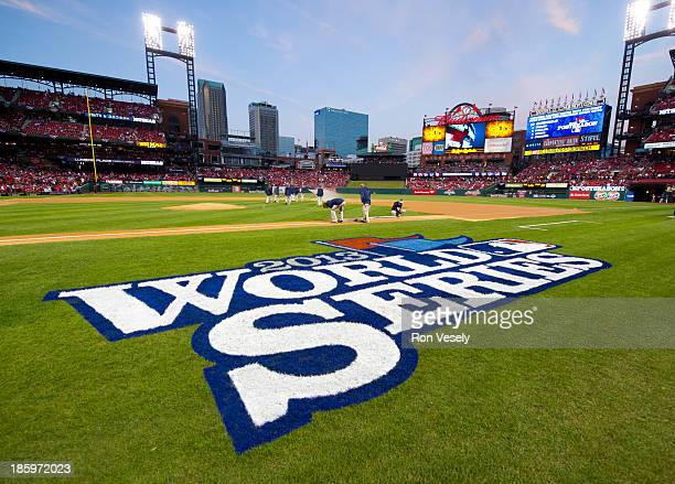 A detail shot of the 2013 World Series logo on the field before Game 3 of the 2013 World Series between the St Louis Cardinals and the Boston Red Sox...
