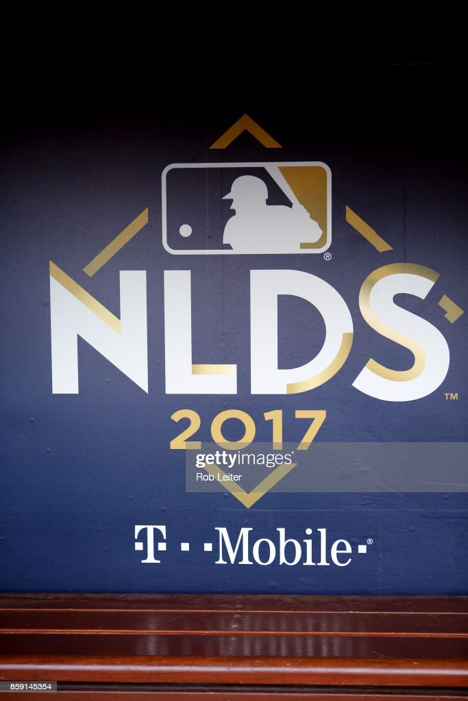 A detail shot of the 2017 NLDS logo in the dugout prior to Game 1 of the National League Division Series between the Arizona Diamondbacks and the Los Angeles Dodgers at Dodger Stadium on Friday, October 6, 2017 in Los Angeles, California.