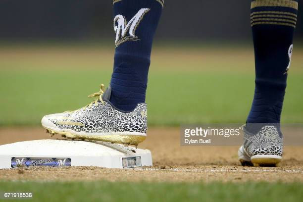 A detail shot of the Adidas cleats worn by Keon Broxton of the Milwaukee Brewers in the fifth inning against the St Louis Cardinals at Miller Park on...