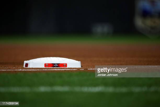 Detail shot of the ALDS logo on the base during Game 3 of the ALDS between the New York Yankees and the Minnesota Twins at Target Field on Monday,...
