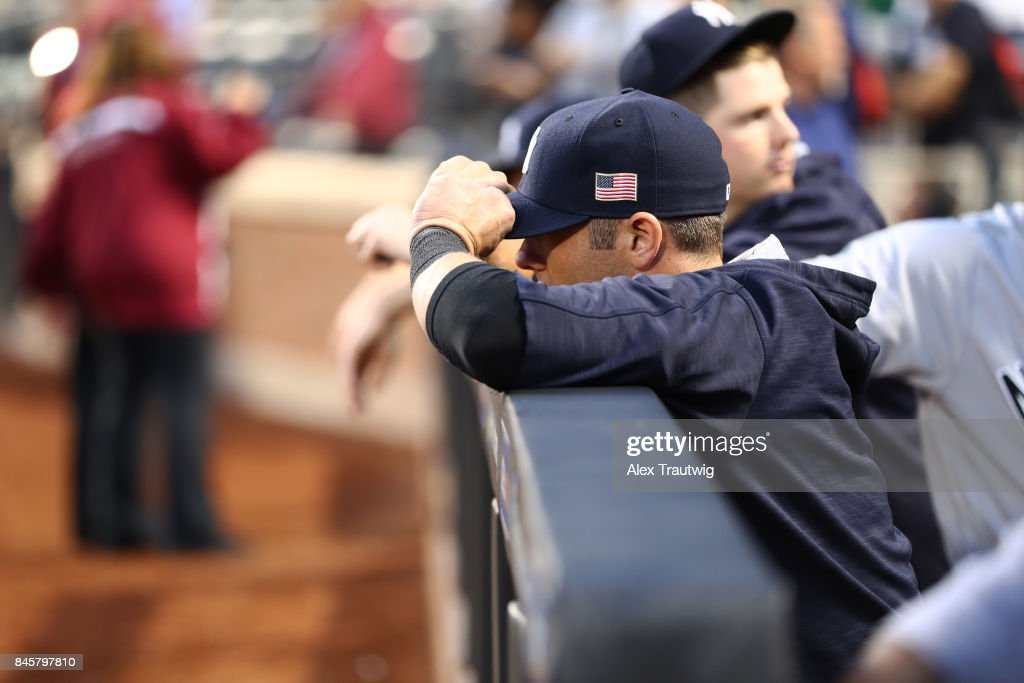 Detail shot of the American flag on the side of the cap during the game between the New York Yankees and the Tampa Bay Rays at Citi Field on Monday, September 11, 2017 in the Queens borough of New York City.