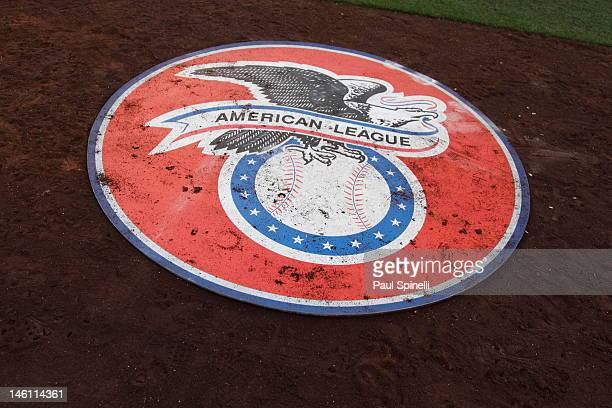 A detail shot of the American League logo is shown on an on deck circle during the Los Angeles Angels of Anaheim game against the Oakland Athletics...