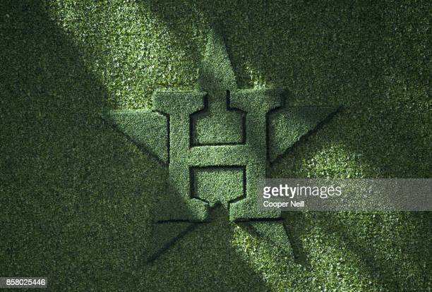 A detail shot of the Astros logo is cut into the batter's eye as seen during Game 1 of the American League Division Series between the Boston Red Sox...