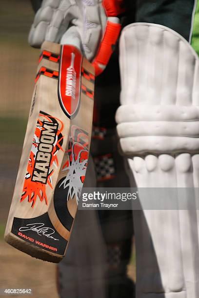 A detail shot of the bat of David Warner during an Australian nets session at Melbourne Cricket Ground on December 25 2014 in Melbourne Australia