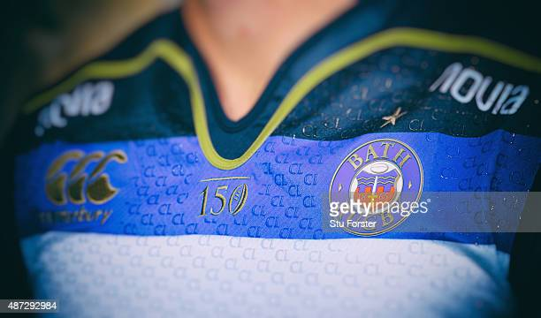 Detail shot of the Bath badge on the new playing shirt at the photocall held at Farleigh House on September 8, 2015 in Bath, England.