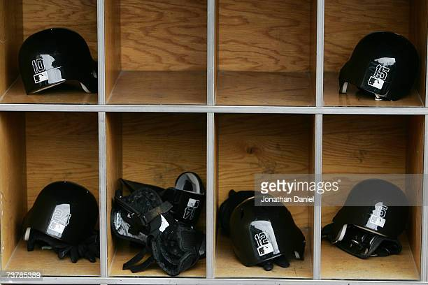 A detail shot of the batting helmets in the Chicago White Sox dugout during the opening day game against the Cleveland Indians on April 2 2007 at US...
